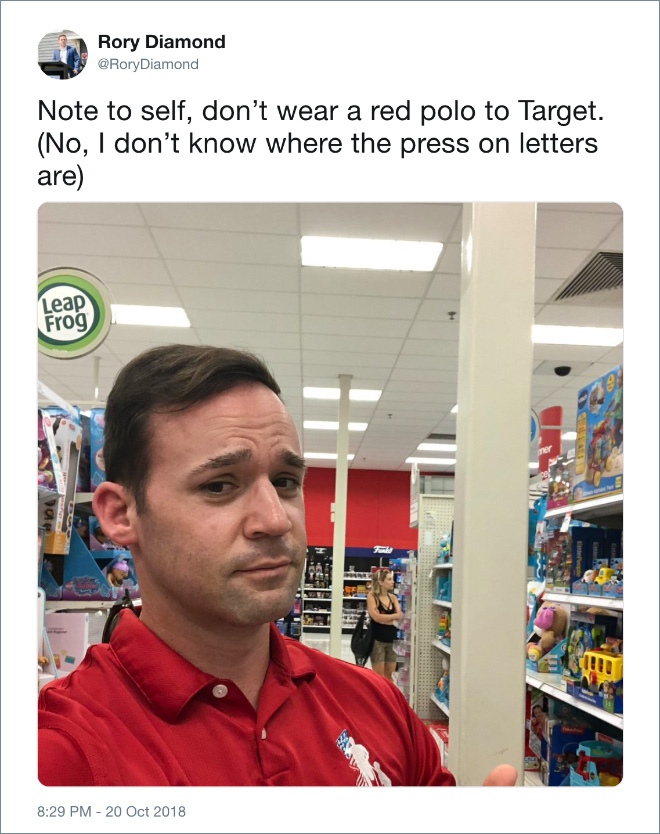 Not to self: don't wear red to Target.