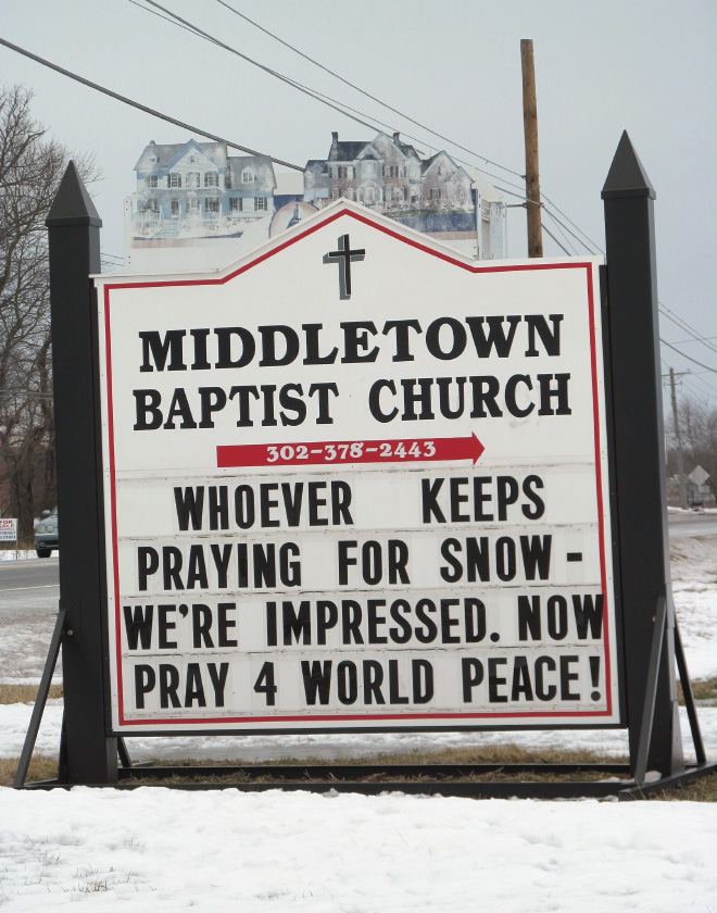Stop praying for snow. Start praying for world peace!