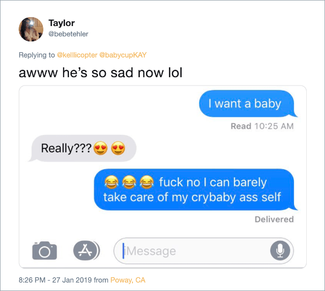 """Hilarious answer to """"I want a baby"""" text from girlfriend."""
