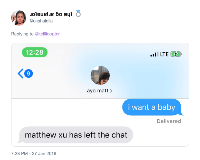 """Genius answer to """"I want a baby"""" text from girlfriend."""