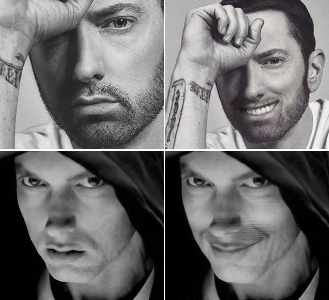 Eminem looks really creepy with a photoshopped smile.