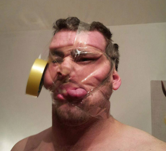 Invisible tape selfie.