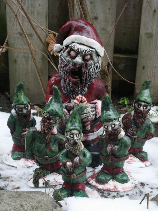 Creepy zombie garden gnomes.