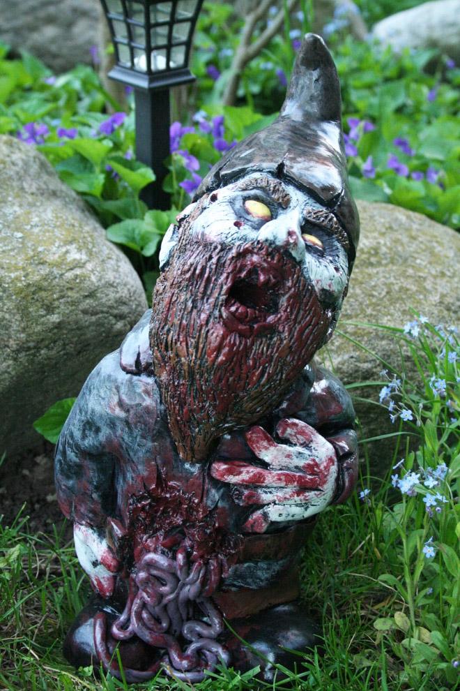 Creepy zombie garden gnome.