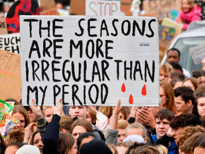 Funny climate change protest sign.