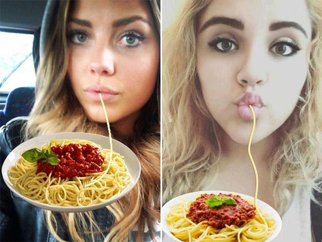 Duckface selfies fixed with spaghetti.