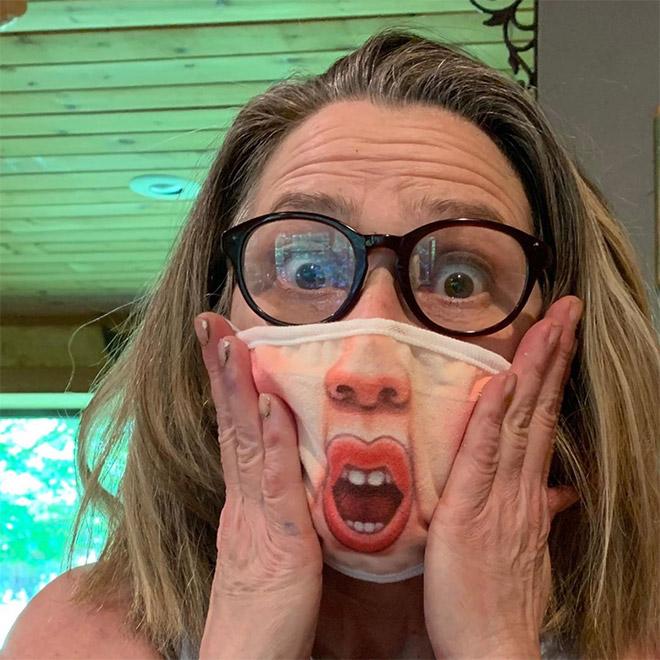 Funny realistic anti-COVID-19 mask.