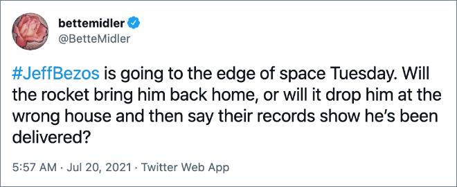 Twitter reaction to Jeff Bezos spaceflight.