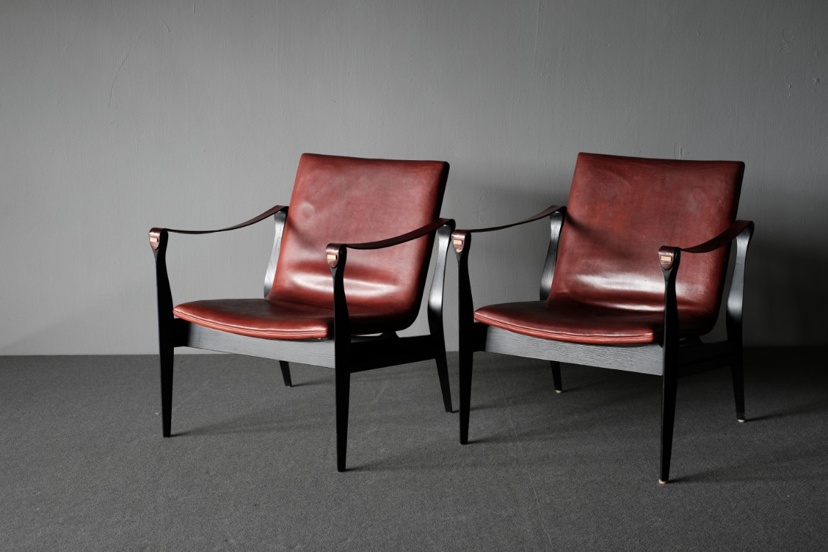 Safari Chairs Ebbe And Karen Clemmenson Pair Of Safari Chairs Model 3405 1b2g