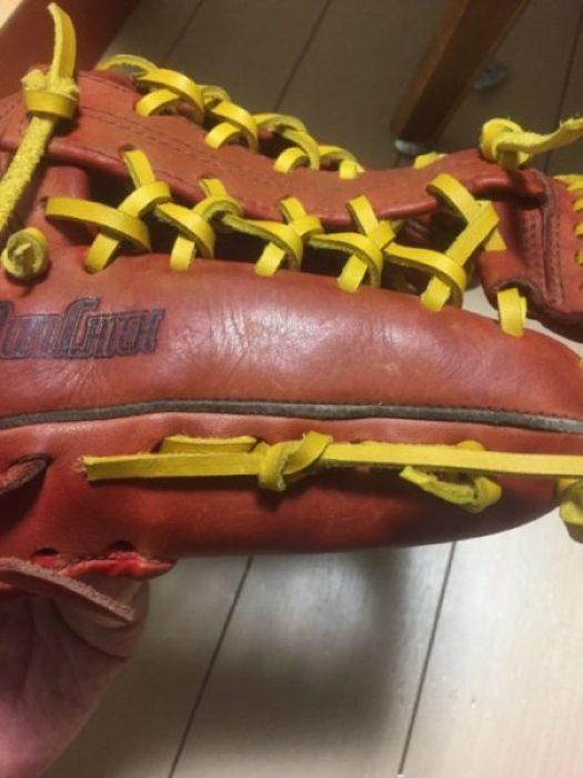野球グローブの紐交換 上手な結び方④親指と小指の側面編