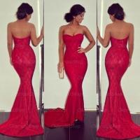 Lace Mermaid Prom Dresses, Red Prom Dresses, 2015 Prom ...
