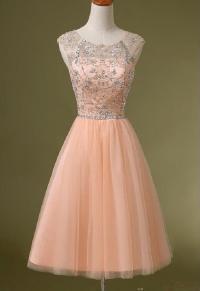 Peach Beaded Homecoming Dress, See Through Homecoming ...