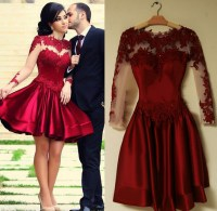 Burgundy Prom Dresses , 2016 Lace Long Sleeve Short Prom ...