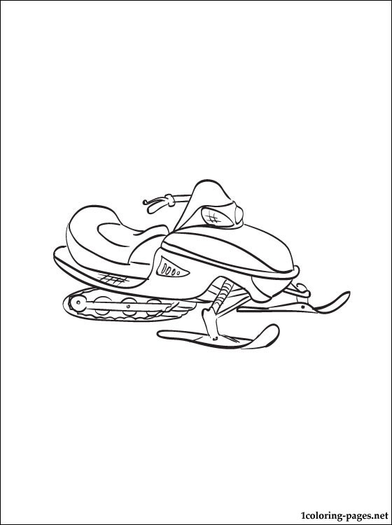 Free coloring pages of snowmobile