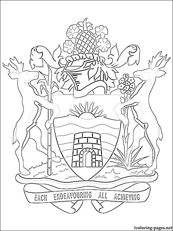 Antigua And Barbuda Coat Of Arms Coloring Page Coloring