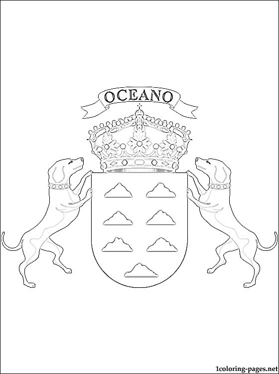 Canary Islands Coat Of Arms Coloring Page Coloring Pages