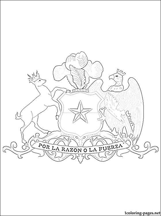 Chile Coat Of Arms Coloring Page Coloring Pages