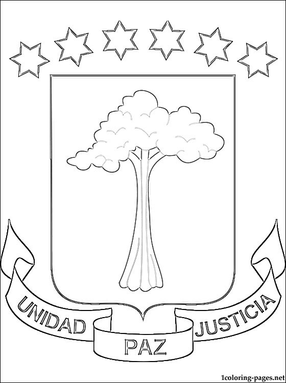 Equatorial Guinea Coat Of Arms Coloring Page Coloring Pages