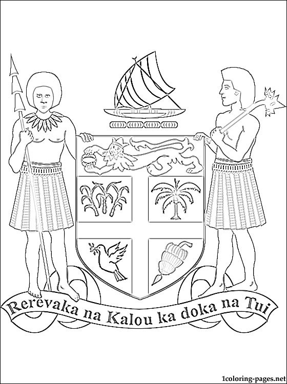 Fiji Coat Of Arms Coloring Page Coloring Pages