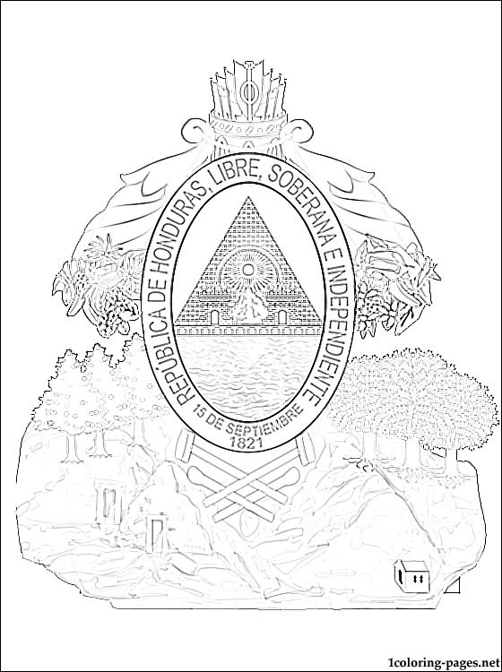 Honduras coat of arms coloring page  Coloring pages