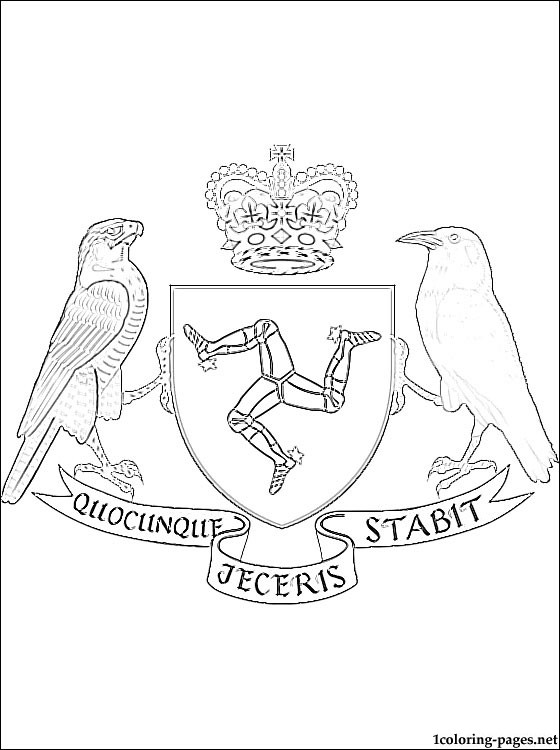 Isle Of Man Coat Of Arms Coloring Page Coloring Pages