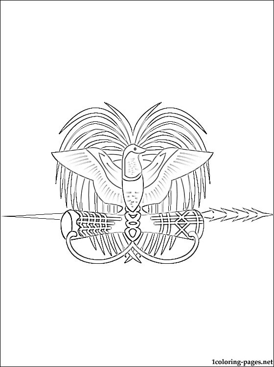 Papua New Guinea Coat Of Arms Coloring Page Coloring Pages