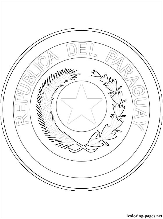 Paraguay Coat Of Arms Coloring Page Coloring Pages