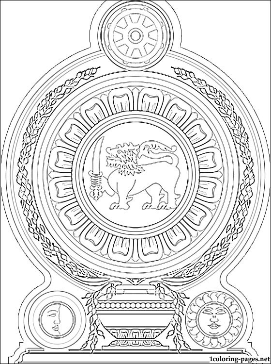 Sri Lanka Coat Of Arms Coloring Page Coloring Pages