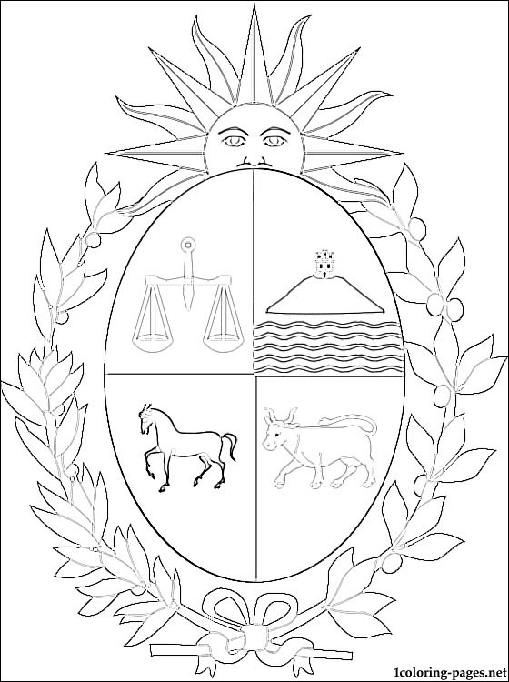 Uruguay coat of arms coloring page  Coloring pages