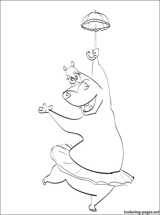 Gloria The Hippopotamus Madagascar Coloring Page