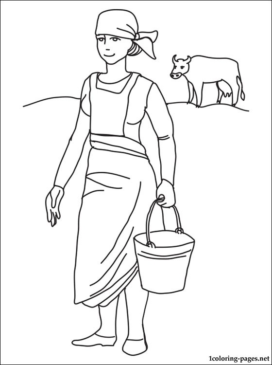 Milkmaid coloring page  Coloring pages