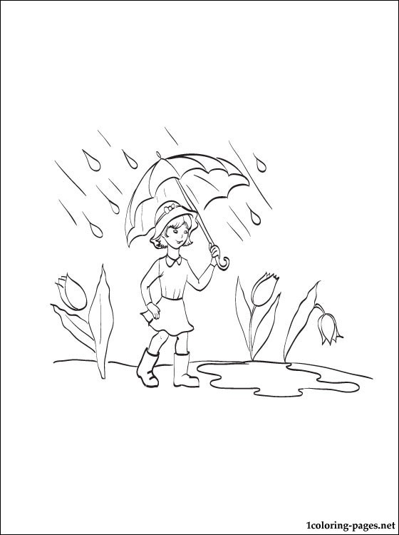 Girl With An Umbrella In The Rain Coloring Page Coloring