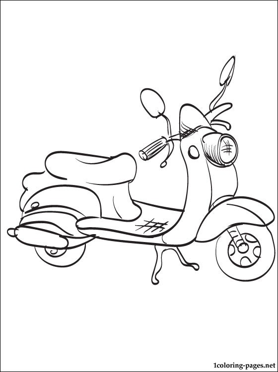 Coloring Page Moped Coloring Pages