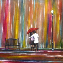 Love in the Rain romantic painting