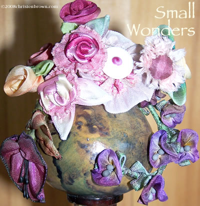 Small Wonders Vase- ribbon worked flowers and leaves