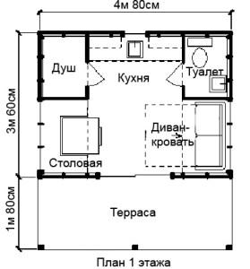 дачный домик с мансардой план