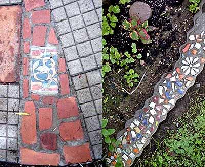 Как выложить мозаику из битой плитки на дачной дорожке