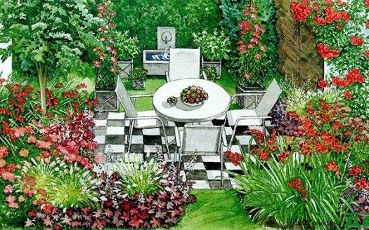 Оформление маленького двора частного дома