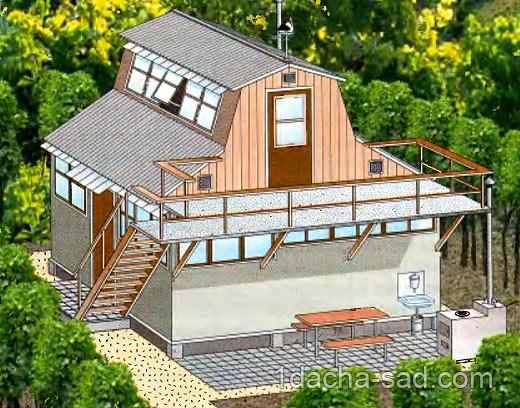 проект недорогого двухэтажного дачного домика