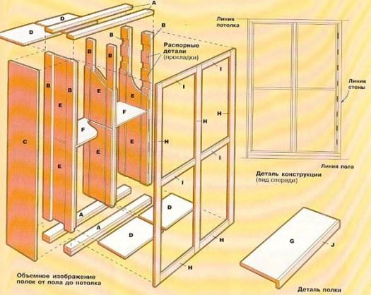 деревянные полки чертеж