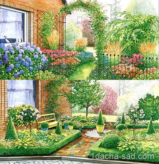 Дизайн палисадника перед домом - два весенних варианта