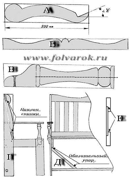 Схема скамейки со спинкой для дачи