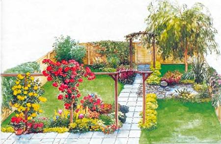 ландшафтный дизайн маленького садового участка 4