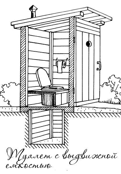 Туалет с выдвижной емкостью