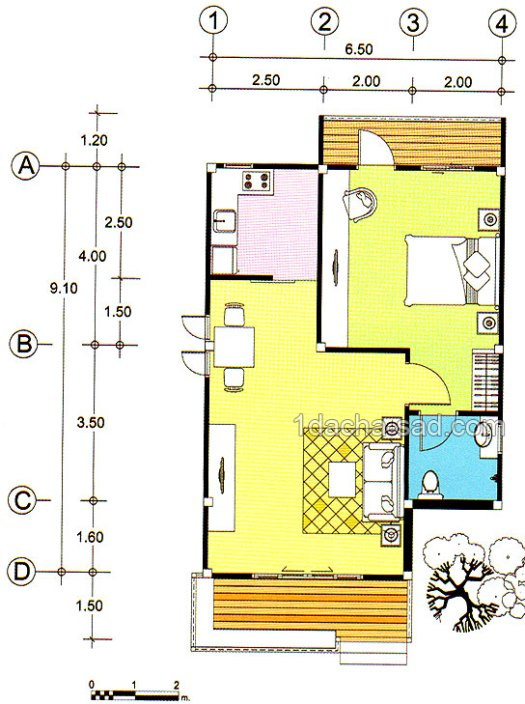 4 - Проект одноэтажного дома 6 на 9 м