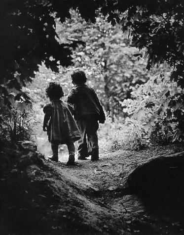 children-walking-garden