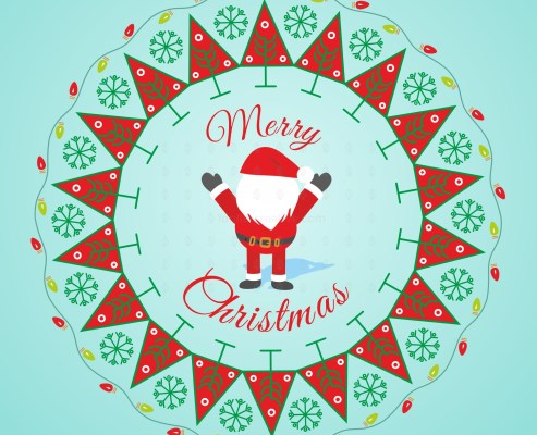 Christmas wreath with festive background