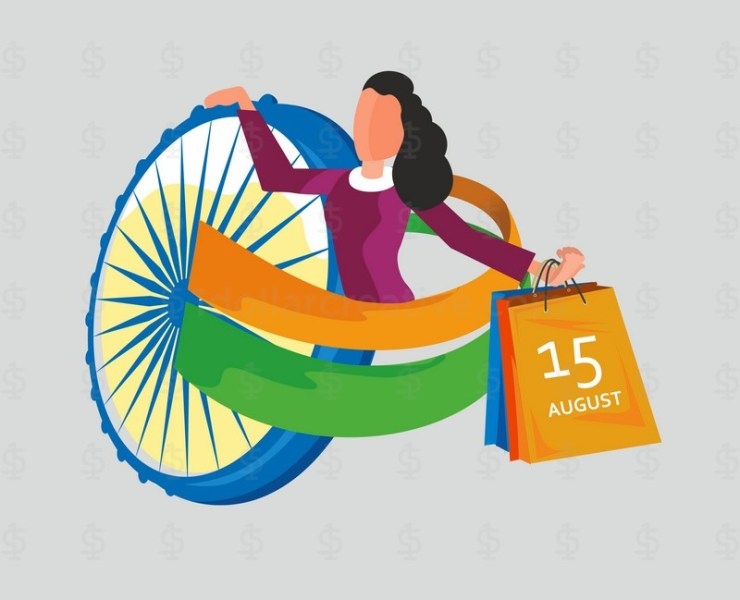 India Independence day celebration, A girl enjoy shopping on independence day sale