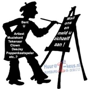 Wilt u werken als artiest, clown, poppenkastspeler, Deejay, meld u dan aan bij 1e-keus.nl