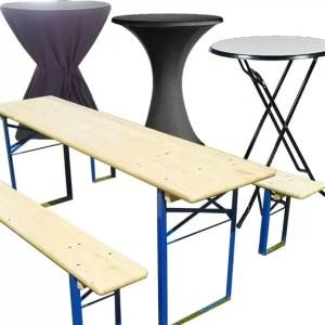 Statafels (met rok), biertafels en partytafels huren